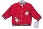 NEW Will'Beth Red Knit Baby Sweater with Holiday Appliques