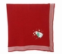 NEW Will'Beth Red Knit Blanket with Striped Border and Snowman Applique