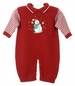 NEW Will'Beth Red Knit Romper with Striped Sleeves and Snowman Applique