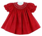 NEW Will'Beth Red Pincord Cotton Red Bishop Smocked Dress with Matching Diaper Cover