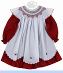 NEW Will'Beth Red Pinwale Dress and White Smocked Pinafore with Scalloped Hem