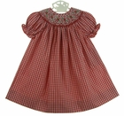 NEW Will'Beth Red Plaid Bishop Smocked Dress with Red Embroidered Flowers