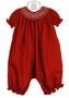 NEW Will'Beth Red Smocked Long Bubble with White Embroidery