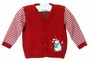 "<img src=""https://p11.secure.hostingprod.com/@grammies-attic.com/ssl/images/blue-sold-1.gif"">  NEW Will'Beth Red Sweater with Striped Sleeves and Snowman Applique"