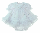 NEW Will'Beth White Baby Dress with Lace, Ribbons, Pastel Embroidery, and Seed Pearls