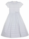 NEW Will'Beth White Batiste Dress with Horizontal Fagoting and Pearl Trimmed Bow