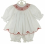 NEW Will'Beth White Bishop Smocked Pantaloon Set with Red Embroidery and Bows