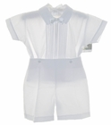 NEW Will'Beth White Button on Shorts Set with Removable Bowtie