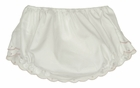 NEW Will'Beth White Diaper Cover with Pink Scalloped Embroidered Trim