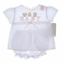 """<img src=""""https://p11.secure.hostingprod.com/@grammies-attic.com/ssl/images/blue-sold-1.gif""""> NEW Will'Beth White Diaper Set With Pink Embroidered """"Baby"""" and Animals"""