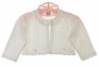 NEW Will'Beth White Fine Knit Cotton Bolero Sweater with Embroidery and Seed Pearls