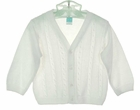 NEW Will'Beth White or Ivory Fine Knit Cotton Cable Stitched Sweater