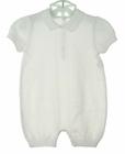 NEW Will'Beth White Fine Knit Romper with Center Stripe Detail
