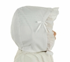 NEW Will'Beth White Pintucked Bonnet with White Bows and Organdy Face Ruffle