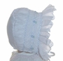 NEW Will'Beth White Smocked Baby Bonnet with Blue Embroidered Flowers