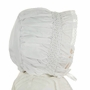 NEW Will'Beth White Smocked Bonnet with Lace Trimmed Face Ruffle and Seed Pearls