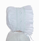 NEW Will'Beth White Smocked Bonnet with Pale Green Embroidery