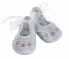 NEW Will'Beth White Smocked Shoes with Pink Embroidered Flowers