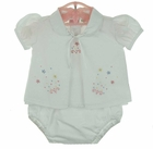 NEW Will'Beth White Three Piece Diaper Set with Pastel Embroidered Flowers