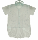 NEW Will'Beth White Voile Diaper Set and Matching Booties with Blue Embroidery