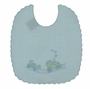 NEW Will'Beth Blue Linen Bib with Embroidered Train