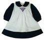 "<img src=""https://p11.secure.hostingprod.com/@grammies-attic.com/ssl/images/blue-sold-1.gif""> NEW Willbeth Navy and White Dress with White Smocked Pinafore"