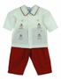 "<img src=""https://p11.secure.hostingprod.com/@grammies-attic.com/ssl/images/blue-sold-1.gif""> NEW Willbeth Red and White Pants Set with Snowman Embroidery"