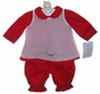 NEW Will'Beth Red Pantaloon Set with White Embroidered Pinafore Overlay and Matching Bonnet