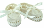 NEW Will'Beth Vintage Style Ivory Cotton Knit Moccasin Booties with Woven Ribbon