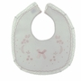 NEW Will'Beth White Bib with Lace Trim and Pink Shadow Embroidery