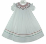 NEW Will'Beth White Bishop Smocked Dress with Red Heart Embroidery
