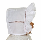 NEW Will'Beth White Bonnet with Lace Insertion and Embroidery