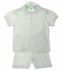 NEW Will'Beth White Cotton Knit Shorts Set