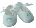NEW Will'Beth White Mary Jane Shoes with Embroidered Ducks