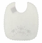 "NEW Will'Beth White Scalloped Bib with Embroidered ""Baby"""