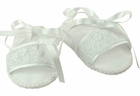 NEW Will'Beth White Smocked Sandals with White Ribbon Ties