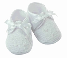 NEW Will'Beth White Smocked Shoes with White Embroidery and Ribbon Ties