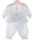"""<img src=""""https://p11.secure.hostingprod.com/@grammies-attic.com/ssl/images/blue-sold-1.gif""""> NEW Will'Beth White Voile Diaper Set with Delicate Embroidery and Pink Bird Applique"""