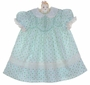 "<img src=""https://p11.secure.hostingprod.com/@grammies-attic.com/ssl/images/blue-sold-1.gif""> Polly Flinders Aqua Rosebud Print Smocked Dress with Eyelet Trim"