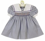 Polly Flinders Blue Pinstriped Smocked Sailor Dress