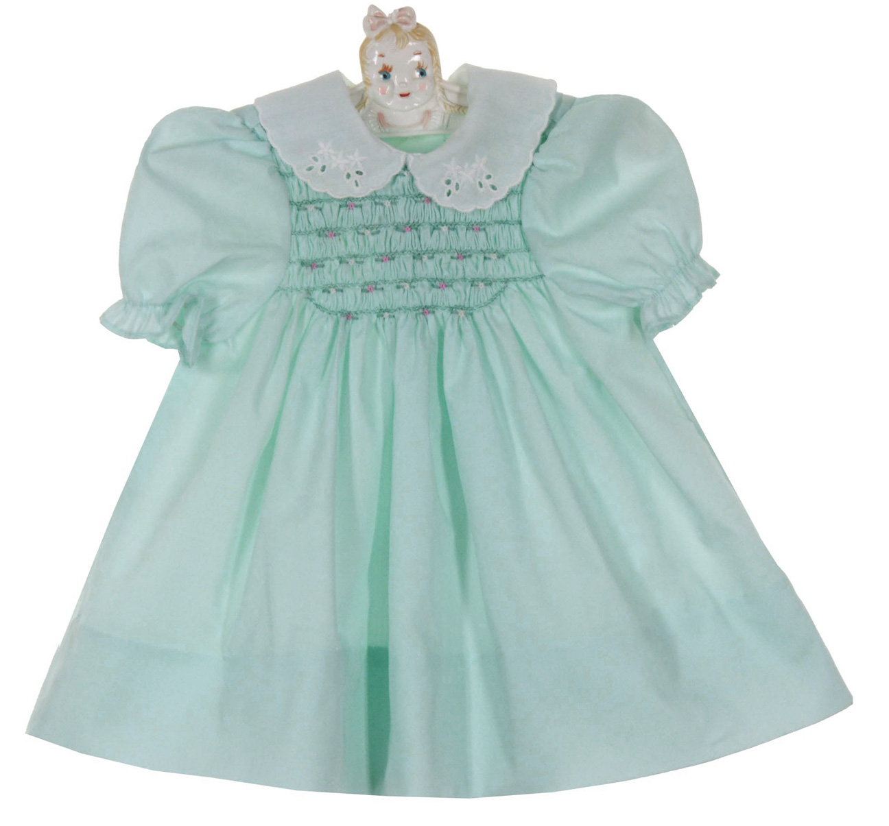 74d69c0eb Polly Flinders Pale Green Smocked Dress with White Eyelet Collar