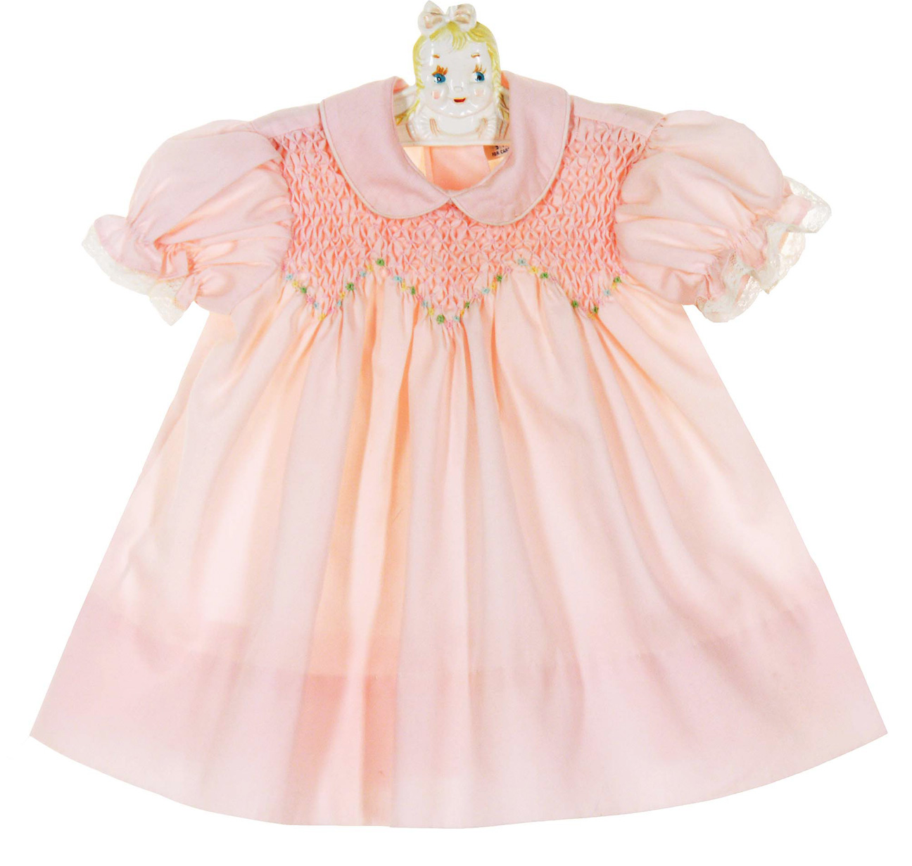 461091c8d Polly Flinders Pink Smocked Dress with Pastel Embroidered Flowers