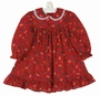 Polly Flinders Red Holiday Packages Print Cotton Dress with Lace Trimmed Collar