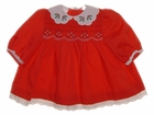 """<img src=""""https://p11.secure.hostingprod.com/@grammies-attic.com/ssl/images/blue-sold-1.gif""""> Polly Flinders Red Smocked Baby Dress with Holly Embroidered Collar"""