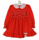 """<img src=""""https://p11.secure.hostingprod.com/@grammies-attic.com/ssl/images/blue-sold-1.gif""""> Polly Flinders Red Smocked Dress with Green and White Embroidered Flowers"""