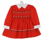 Polly Flinders Red Smocked Dress with Green and White Rick Rack Trim