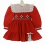 Polly Flinders Red Smocked Dress with White Eyelet Portrait Collar and Embroidered Flowers