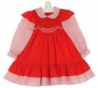 """<img src=""""https://p11.secure.hostingprod.com/@grammies-attic.com/ssl/images/blue-sold-1.gif""""> Polly Flinders Red Smocked Pinafore Style Dress with Red Striped Sleeves and Ruffle"""