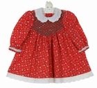 """<img src=""""https://p11.secure.hostingprod.com/@grammies-attic.com/ssl/images/blue-sold-1.gif""""> Polly Flinders Red Snowman Print Cotton Smocked Dress with Embroidered White Collar"""