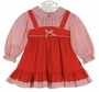 Polly Flinders Red Striped Pinafore Style Dress with Red Embroidered Flowers